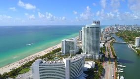 Aerial Fontainebleau Hotel Miami Beach stock video footage