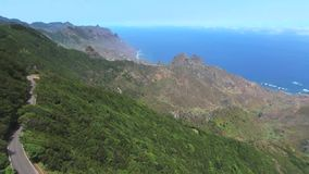 Aerial footage of Anaga natural park in north Tenerife, Canary islands, Spain. stock footage