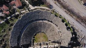 Aerial footage of the Antique Theater. Side, Turkey. Aerial footage of the fly over the Antique Theater. Side, Turkey stock video footage