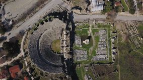 Aerial footage of the Antique Theater. Side, Turkey. Aerial footage of the fly over the Antique Theater. Side, Turkey stock footage