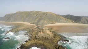 Aerial footage of Atlantic ocean, Algarve Castelejo beach, Portugal stock video