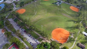 Aerial footage of baseball fields stock video