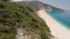 Aerial footage of a beautiful beach and cliffs stock footage