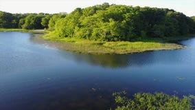 Aerial Footage of Beautiful Lake on Cape Cod stock footage