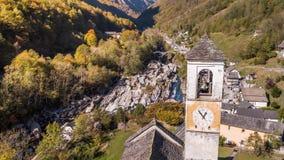 Tower Village Lavertezzo Valley Verzasca Ticino Switzerland Aerial 4k