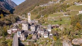 Fall Village Lavertezzo Valley Verzasca Ticino Switzerland Aerial 4k