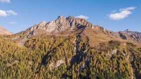 Mountain alps autumn Vals Switzerland aerial 4k