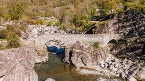 Autumn River Rocks Ticino Switzerland Aerial 4k