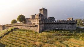 Autumn Montebello Castle Ticino Switzerland Aerial 4k