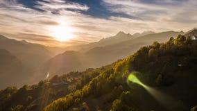 Sunset view mountain Alps autumn Switzerland aerial 4k