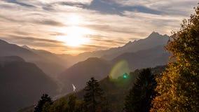 Sunset landscape mountain Alps autumn Switzerland Aerial 4k