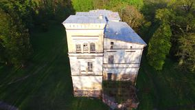 Aerial footage of Belvederis manor ruins, Lithuania stock video footage