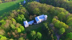 Aerial footage of Belvederis manor ruins, Lithuania stock footage