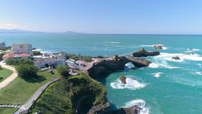 Rocky Shore Biarritz France Ocean Aerial 4k stock footage