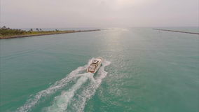 Aerial footage of a boat in Miami Royalty Free Stock Photos