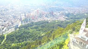 Aerial Footage of Bogota in Monserrate, Colombia stock video