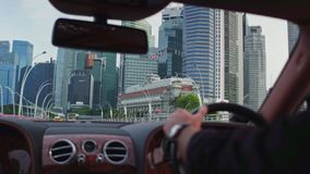 Business district view of Singapore from the car window stock video
