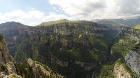 Aerial footage of Canyon de Anisclo in Parque Nacional Ordesa y Monte Perdido, Spain Royalty Free Stock Image