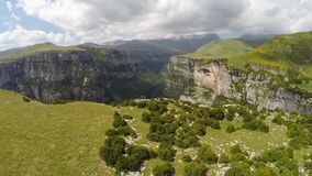 Aerial footage of Canyon de Anisclo in Parque Nacional Ordesa y Monte Perdido, Spain Stock Images