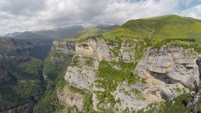 Aerial footage of Canyon de Anisclo in Parque Nacional Ordesa y Monte Perdido, Spain Stock Photos
