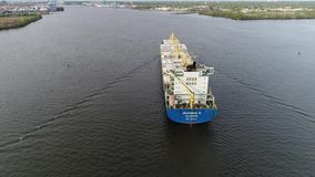 Aerial Footage of Cargo Container Ship on Delaware River Philadelphia PA stock video