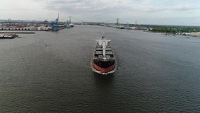 Aerial Footage of Cargo Container Ship on Delaware River Philadelphia PA stock video footage