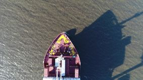 Aerial Footage of Cargo Container Ship on Delaware River Philadelphia PA stock footage