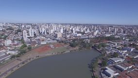 Aerial footage of the city of Sao Jose do Rio Preto in Sao Paulo state in Brazil. July, 2016. stock video footage