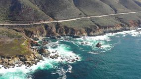 Aerial Footage of Coastline in California on Beautiful Day stock footage