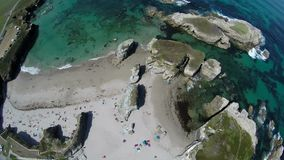 Aerial footage of coastline of Galicia - Beautiful beach in the north of Spain stock video footage