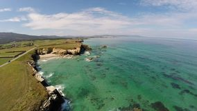 Aerial footage of coastline of Galicia - Beautiful beach in the north of Spain stock video