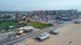 Aerial footage Coney Island Beach stock footage