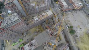 Aerial footage of construction site. Bird eye view stock footage