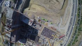 Aerial footage of construction site. Bird eye view stock video footage
