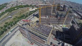 Aerial footage of construction site stock footage