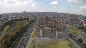 Aerial footage of construction site stock video footage