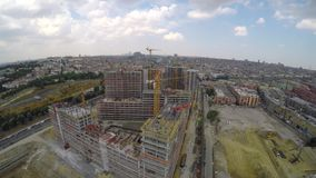 Aerial footage of construction site stock video