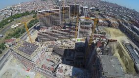 Aerial footage of construction site. Top view stock footage