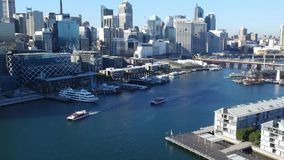 Aerial footage of Darling Harbour Sydney stock video footage