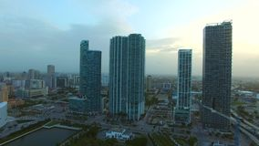 Aerial footage Downtown Miami at dusk stock video