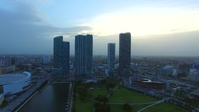 Aerial footage Downtown Miami at dusk stock video footage