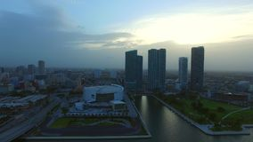 Aerial footage Downtown Miami at dusk stock footage