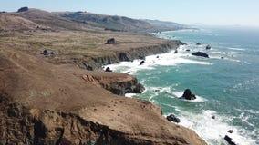 Aerial Footage of Dramatic California Coast stock footage