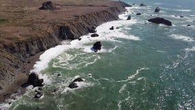 Aerial Footage of Dramatic California Coastline stock footage