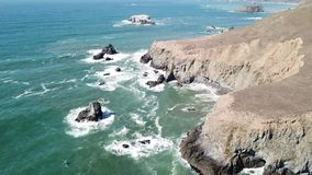 Aerial Footage of Dramatic Northern California Coast stock video footage