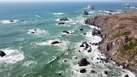Aerial Footage of Dramatic Northern California Coastline stock video footage