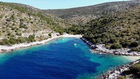 Aerial footage of flying out of spectacular adriatic bay. stock video