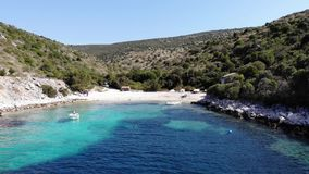 Aerial footage of flying into spectacular adriatic bay. stock video