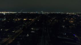 Aerial Footage Flying Towards Philadelphia PA Skyline at Night stock video