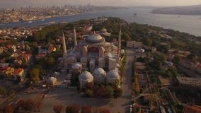 Aerial footage of Hagia Sophia in Istanbul city. Amazing shot. 4K. Magnificent Istanbul in 4K shooting